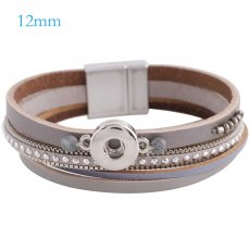 Partnerbeads 7.8 inch 1 snap button gray leather bracelets fit 12mm snaps KS0648-S