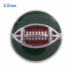 12mm Rugby snaps Silver Plated with green Enamel KS5053-S snap jewelry