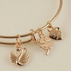A wire bracelet with one big metal charms and two small charms