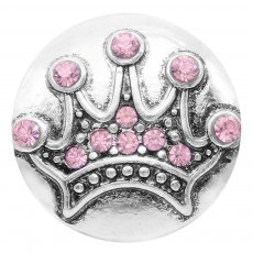 20MM crown snap silver Plated with pink Rhinestones  KC7737 snaps jewerly