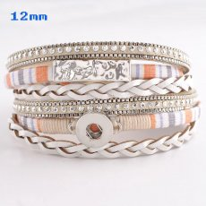 Partnerbeads 40cm 1 snaps button Beige leather bracelets fit 12mm snaps KS0629-S