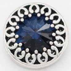 20MM design snap Silver Plated with Blue rhinestone KC6739 snaps jewelry