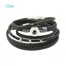 16inch PU leather bracelets fit 12MM snaps chunks