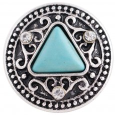 20MM round snap silver plated with rhinestones and green Turquoise KC8832 interchangable snaps jewelry