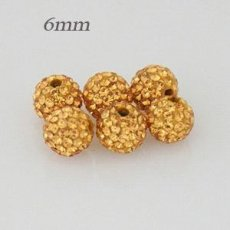 6mm Golden STELLUX Austrian crystal ball beads