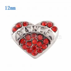 12MM Loveheart snap Silver Plated with red Rhinestone KS9629-S snaps jewelry