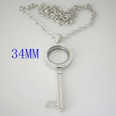 34mm floating locket with 70CM chain of necklace