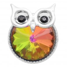20MM Owl snap silver Plated with colorful rhinestone KC6943 snaps jewelry