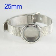 25mm Stainless steel floating charm Magnetic locket with crystal bracelets