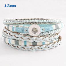 Partnerbeads 40cm 1 snaps button light blue leather bracelets fit 12mm snaps KS0628-S