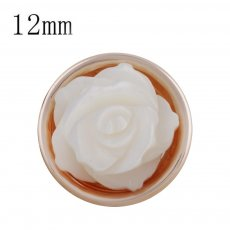 12MM flower Rose Gold Plated with white shell KS5235-S snaps jewelry