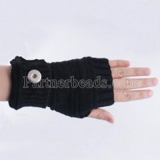 Knitted gloves fit 20mm snap button KB9795 black