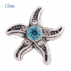 12MM Starfish snap Antique sliver Plated with blue rhinestone KS8025-S snaps jewelry