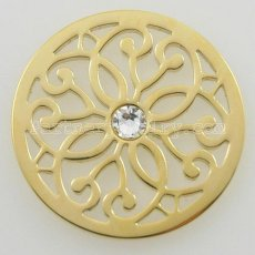 33MM stainless steel coin charms fit  jewelry size flowers with crystal