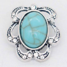 20MM design snap Silver Plated with Rhinestone and green Turquoise KC6867 snaps jewelry