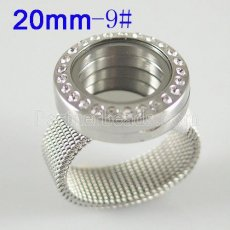 Stainless Steel RING  9# size  with Dia 20mm floating charm locket