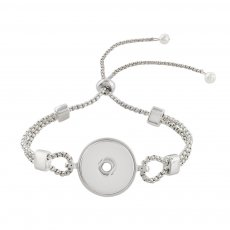 1 buttons snap sliver adjustable bracelet with pearl fit 18MM snaps jewelry KC0799