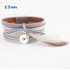 Partnerbeads 20cm 1 snaps button leather bracelets with feather fit 12mm snaps KS0616-S