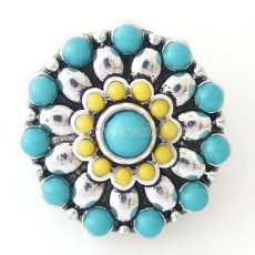 20MM Flower snap Silver Plated with cyan small beads KB6440 snaps jewelry
