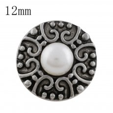 12MM Round snap Antique Silver Plated with white bead KS5198-S snaps jewelry
