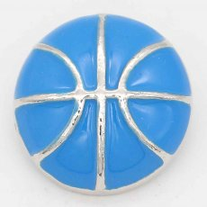 20MM Basketball with blue Francs snap sliver Plated KC6671 snaps jewelry