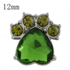 12MM Dog claws snap with green Rhinestone KS5179-S interchangeable snaps jewelry