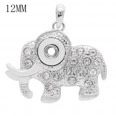 Elephant snap sliver Pendant with rhinestones fit 12MM snaps style jewelry KS0362-S