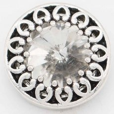 20MM design snap Silver Plated with White rhinestone KC6738 snaps jewelry
