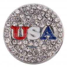 18MM USA snap Silver plated with white Rhinestones KC9643 interchangable snaps jewelry