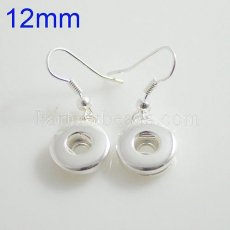 Fit 12mm Snaps Platte Silber Ohrring