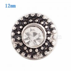 12MM Round snap Silver Plated with white Rhinestone KS9645-S snaps jewelry