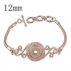 1 buttons snaps metal bracelet Rose Gold KS1146-S fit 12MM snaps chunks