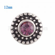 12MM Round snap Silver Plated with purple Rhinestone KS9642-S snaps jewelry