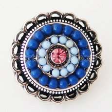 20MM Round snap Antique Silver Plated with rhinestone and blue small beads KB6395 snaps jewelry