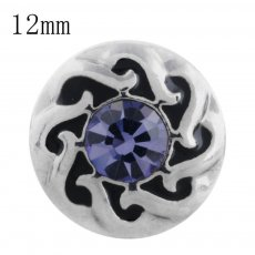 12MM design snap with purple Rhinestone KS5192-S interchangeable snaps jewelry