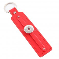 Red leater Keychain Removable buttons fit snaps chunks KC1104 Snaps Jewelry