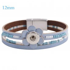 Partnerbeads 7.8 inch 1 snap button blue leather bracelets fit 12mm snaps KS0650-S