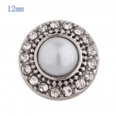 12MM round snap Antique Silver Plated with white rhinestone and pearl KS8019-S snaps jewelry