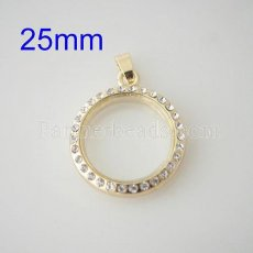 25mm Golden floating locket with Rhinestone