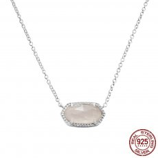 S925 Sterling Silver Kendra Scott style Elisa pendant necklace with Pink jade gemstone GM5008 0.8*1.5cm pendant size