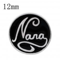 12MM nana snap silver plated with black enamel KS6315-S snaps jewelry