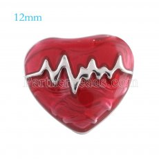 12mm loveheart snaps Silver Plated with red Enamel KS5072-S snap jewelry