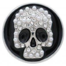 20MM Skull with Embedding pearls and Rhinestone KC7716 black Franc interchangeable snaps jewelry