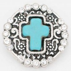 20MM snap green Stone of Cross sliver Plated with  rhinestones  KC6685 snaps jewelry
