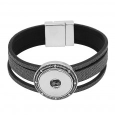 19CM black real leather bracelets KC0845 fit 18/20MM snaps chunks