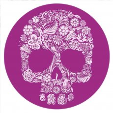 20MM Painted Skull enamel metal C5720 print purple