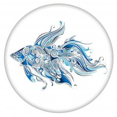 20MM Painted Fish enamel metal C5692 print snaps jewelry