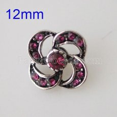 12mm flower snaps Antique Silver Plated with rhinestone KB6642-S snap jewelry