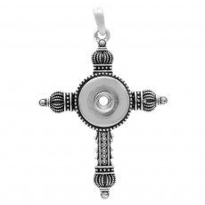 Cross snap sliver Pendant with  fit 20MM snaps style jewelry KC0463