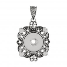 snap sliver Pendant with rhinestone fit 20MM snaps style jewelry KC0404